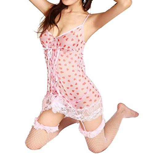 DZT1968(TM)Sexy Peach Heart Sleepwear Women's Pink Temptation Lingerie