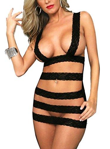 Rokou Women's Sexy Lingerie Bandage Stripe Corset Open Crotch Black Mini Dress