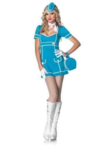 Leg Avenue Women's 4 Piece Classic Flight Attendant Dress With Purse, Hat And Scarf