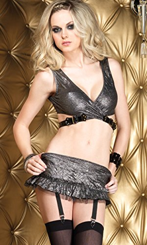 Leg Avenue Women's Platinum Crushed Foil Wrap Top and Garter Mini Skirt