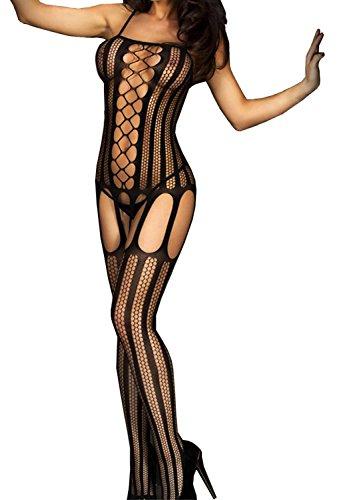 Amoretu® Womens Black Sheer Fishnet Striped Crotchless Suspender Bodystocking