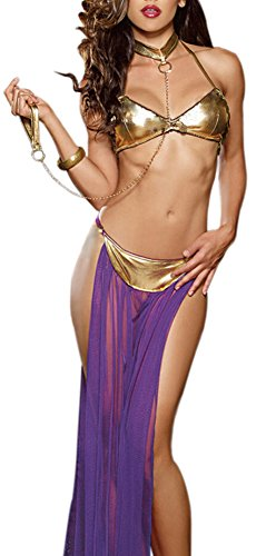 Amilia PU Leather Halter Low Cut Role Play Sexy Lingerie Strappy Sheer Long Sleepwear