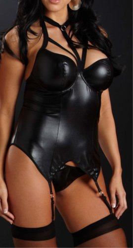 Full Figured Lingerie Sexy Shiny Black Bustier