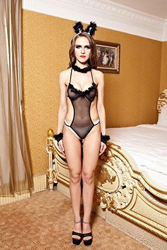 EU080-Women's Sexy Role Play Bunny Lingerie Costume Open Bust Teddies Erotic Costume Rabbit