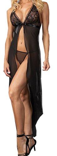 CHANCEN Women Sexy Transparent Lingerie Mini Dress Thongs Underwear Babydoll Set Black