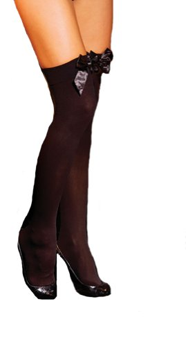 Elegant Moments EM-1708, Opaque Thigh Hi, also in plus size. O/S Black