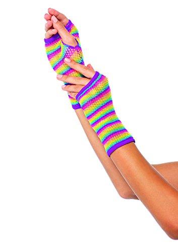 Leg Avenue Women's Rainbow Net Fingerless Gloves