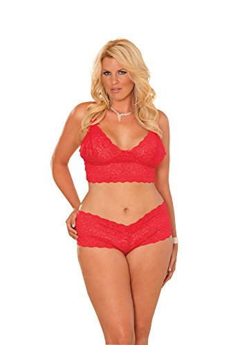 Elegant Moments Women's Plus-Size Queen Size Stretch Lace Cami and Short