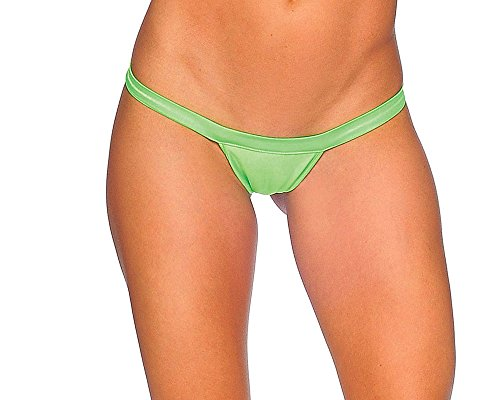 BodyZone Apparel Comfort Strap T-Back G-String Thong Panties. Neon Green. One Size. Made in USA.