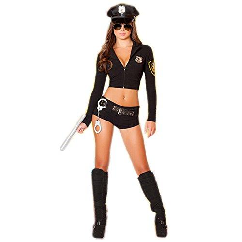 SSQUEEN Sexy Fantasy Female Police Uniform Masquerade Clothes with Handcuffs