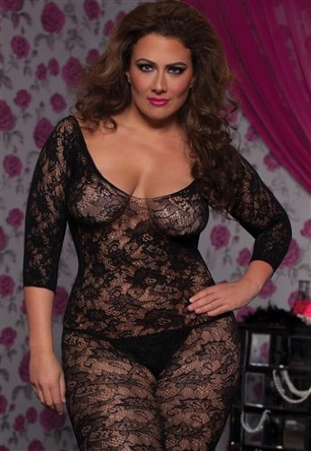 Seven Til Midnight Women's Crochet Floral Lace Body Stocking