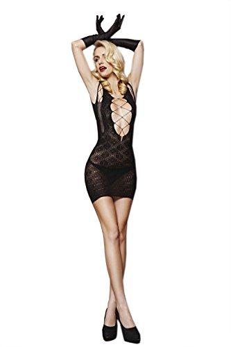 Moonight Women Fishnet Body Stocking Bodysuit Nightwear Lingerie Mini Dress