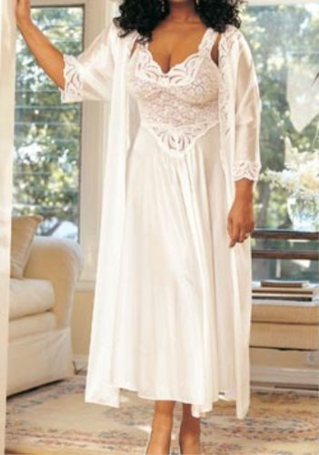 Stretch lace and tricot long gown SHX3585