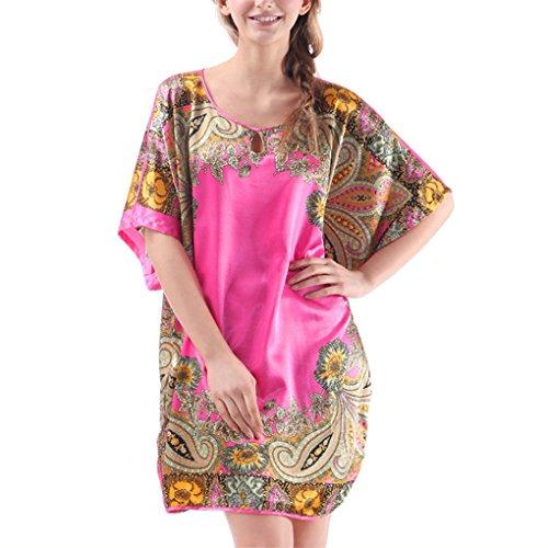 Women Emulation Silk Exotic Loose Nightfown Lingerie Homewear Plus Size Rose Red