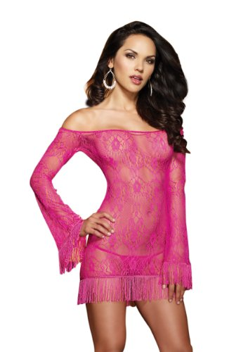 Dreamgirl Women's Shimmy N Shake Chandelier Pattern Lace Tunic and Thong