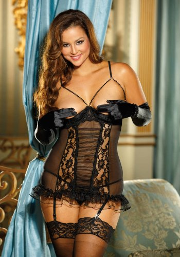 Shirley of Hollywood Women's Plus Size Cupless Mesh and Lace Chemise