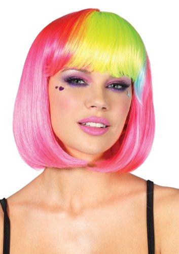 Leg Avenue Costumes Pop Rainbow Bang Bob Wig, Neon Pink, One Size