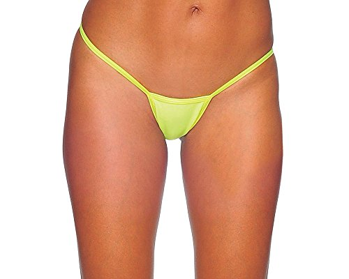 BodyZone Apparel Mini Cover Sexy Thong Panty.Neon Yellow . One Size. Made in USA.