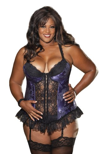 Shirley of Hollywood Women's Plus-Size Satin Tapestry Long Line Bustier