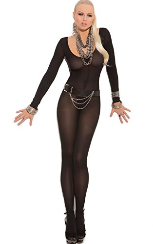 White Opaque Crotchless Bodystocking / Catsuit (Queen Size)