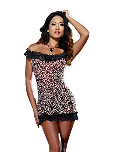Dreamgirl Women's Wild Kitty Leopard Print Off The Shoulder Chemise and Thong