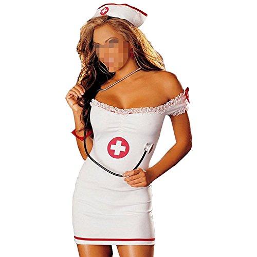 SUNNOW® Women's Sexy Lace Nurse Uniform Off Shoulder Mini Dress Lingerie