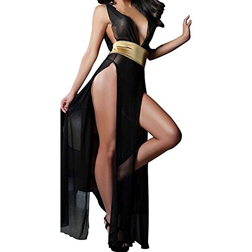Janecrafts Women's Sexy Deep V-neck See-through Split Mesh Babydoll Tunic Intimates Maxi Long Lingerie Gown Sleep Dress Nightwear Sleepwear