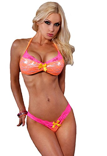 Sexy Lace Sweetheart Top and Bikini Panty with Sequins. Mango/Neon Pink. One Size. Made in the USA.