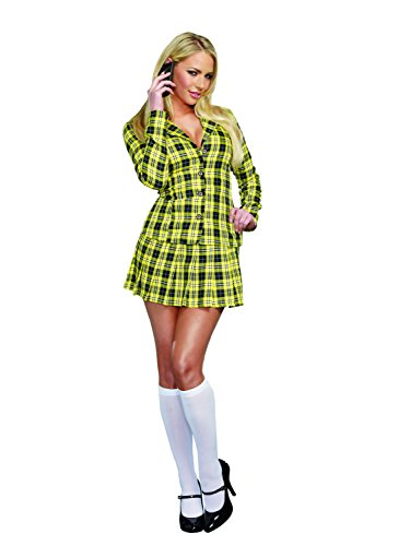 Dreamgirl Women's Sexy Yellow Plaid Clueless Iggy Schoolgirl Costume, Fancy Girl