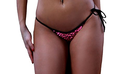 BodyZone Women's Apparel Sequin Side Tie Panty. Neon Green. O/S. Made in USA.