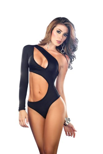 Espiral Lingerie Women's Sexy Light Glow One Shoulder Belly Baring Romper