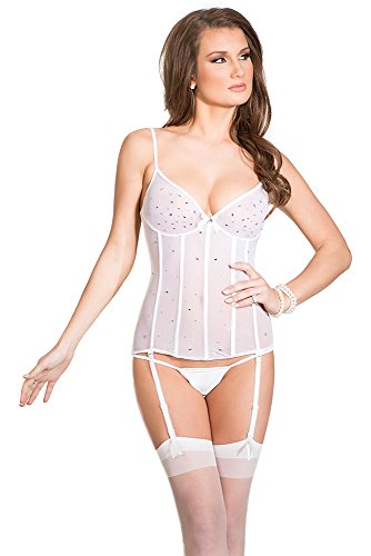 Coquette Women's Mesh Underwire Soft Cup Bustier with Rhinestones