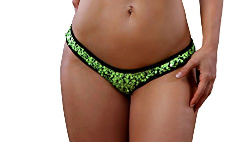 BodyZone Apparel Sequin Scrunch Back Bottom Panty. Neon Pink. O/S. Made in USA.