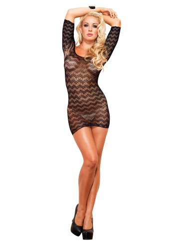 Leg Avenue Women's Zig-Zag Crotchet Net Cut Out Back Mini Dress