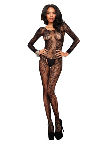 Leg Avenue Women's Seamless Swirl Lace Long Sleeve Bodystocking