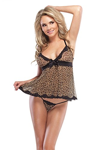 Coquette Women's Kissable Leopard Mesh Babydoll and G-String