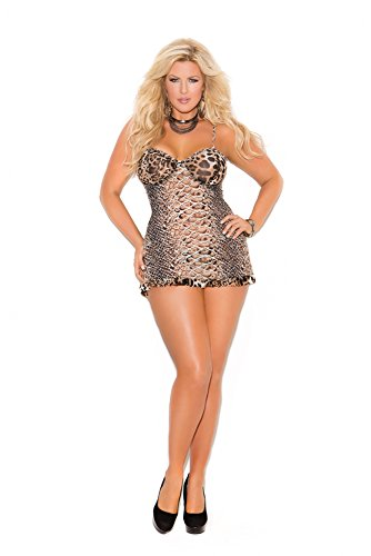 Elegant Moments Women's Plus-Size Queen Size Animal Print Mesh Babydoll