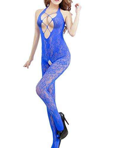 TRURENDI Sexy Woman Open Crotch Mesh Fishnet Bodystocking Stocking Lingerie (Blue)