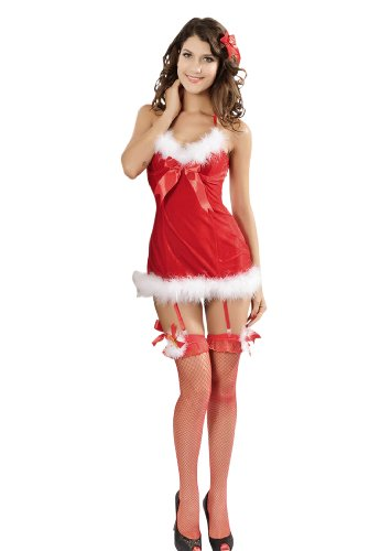Sexy Lingerie Red Santa Lady Dress Exclusive Role Play Adult Costume