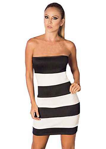 Sally 2015 New Chest Wrapped Nightclub Classic Black And White Dress