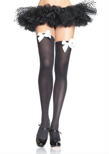Leg Avenue Women's Opaque Thigh Highs with Satin Bow Accent