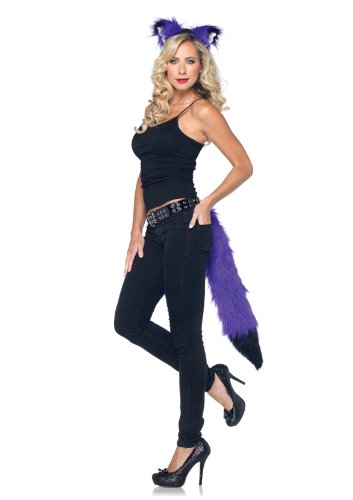 Leg Avenue 2 Piece Rockin Fox Kit Furry Ear Headband Furry Tail with Belt Loop