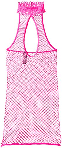 Pink Lipstick Women's Out In The Open Fishnet Halter Dress