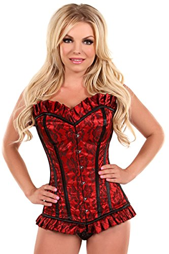 Daisy Corsets Women's Top Drawer Red Lace Steel Boned Corset