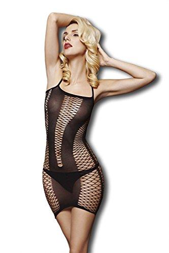 Moonight Women Exotic Sheer Black Fishnet Bodystocking Chemise Mini Dress Strip Lingerie