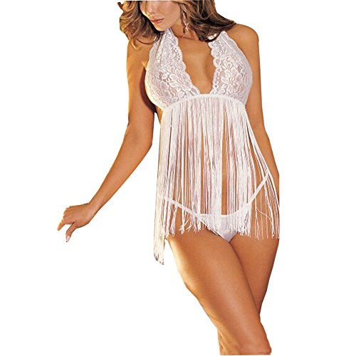 Mariposa Sexy Halter Tassels Exotic Lingerie Chemise Nightwear with G-String
