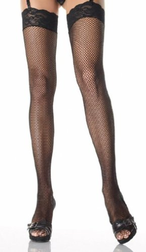 Womens Leg Avenue 9023 Fishnet Thigh High With 3″ Stretch Lace Top