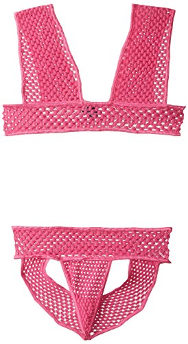 Pink Lipstick Women's Net Worth Crochet Knit Bra and Panty Set