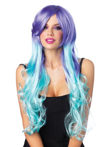 Leg Avenue Women's Moonlight Long Curly Wig, Lavender/Aqua, One Size