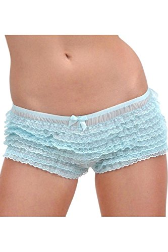 Leg Avenue Women's Ruffle Tanga Shorts Cute Micromesh Lace-One Size: Regular